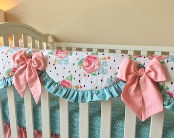 Crib Rail Covers, Watercolor Floral Crib Rail Cover, Polka Dot Rail Guard, Blush Rail Guard for Girl, Bumperless Crib Bedding A La Carte