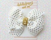 Gold Stars Hair Bow, Girls White Hair Bow, Nautical Hair Bow, 4th Of July Hair Bow, Stars Hair Bow, Toddler Bows, Bows for July 4th