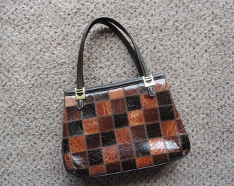 vintage reptile patchwork purse 60s Harrods London vinyl faux lizard handbag