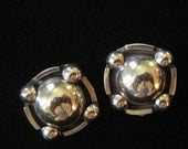 Modern Design Mexico Sterling Button Earrings, 1980's