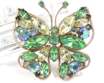 Green and Yellow Rhinestone Butterfly Brooch Vintage 1950s Figural Bug Broach - FREE Domestic Shipping