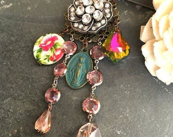 Assemblage necklace Boho Spring Chic