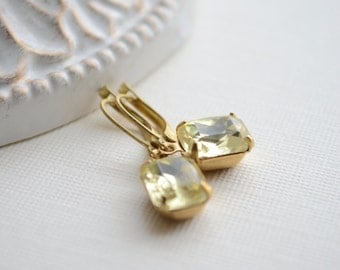 Small Jonquil Yellow Earrings, Wedding Jewelry, Bridesmaid Earrings, Vintage Jewels, Yellow Rhinestone, Octagon Earrings, Gift For Her
