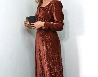 60s Maroon Velvet dress Burnout Vintage Party Evening Long Sleeve Dress S/M
