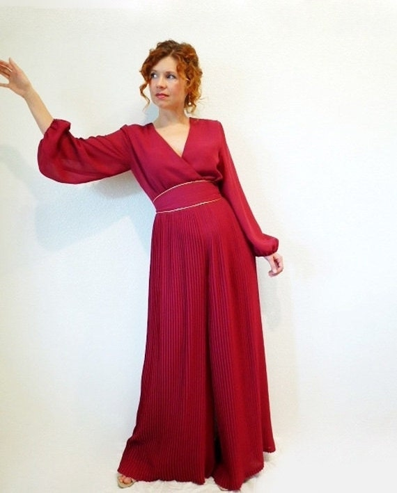 Vintage 60s Jumpsuit Dress Miss Elliette Pleated Maroon Cocktail Party Evevning jumpsuit dress