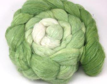 Alpaca/Silk  Combed Top - spinning fiber - Granny Smith