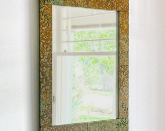 Rustic stone wall mirror with Fern etched in real slate