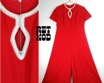 70s Jumpsuit Galore with White Pearl Trim Embellishment! Super Cool! PLUS!