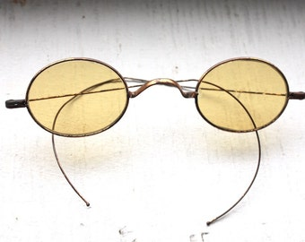 Rare Antique 1800s Tinted Glasses // Rare Victorian Amber Yellow Lens Eyeglasses | Regency 19th Century | Sharpshooter Civil War Era // #S15
