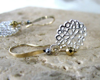 Sterling Silver Earrings, Silver and Gold Earrings, Gold Earrings, Filigree Earrings,  Mixed Metal Earrings, Long Dangle - Silver and Gold