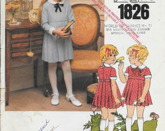 Vintage Little Vogue 1826 Children's High waisted  Semi-fitted dress pattern Uncut, Factory folded  (Size 4)