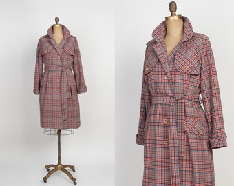 Vintage Wool Plaid Trench Coat - 1960s / 1970s Red & Blue Trench Coat Women - 60s / 70s Belted Trenchcoat - M