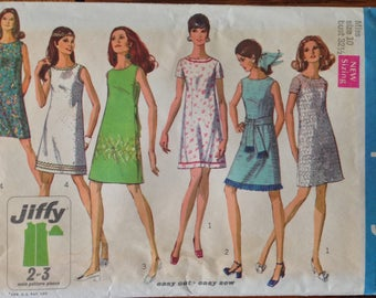 Vintage 60s Dress Pattern Uncut Ff 32 1/2 bust shift sheath
