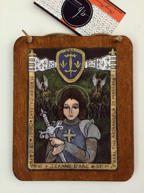 St Joan of Arc Saint Joan of Arc unique teacher gift retablo Catholic saint french religious Paris France feminism female confirmation gift