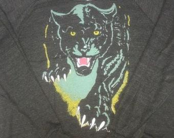 Womens PANTHER Tri Blend sweatshirt long sleeve pullover raglan shirt-- american apparel S M L -- (1 Color Options) skip n whistle