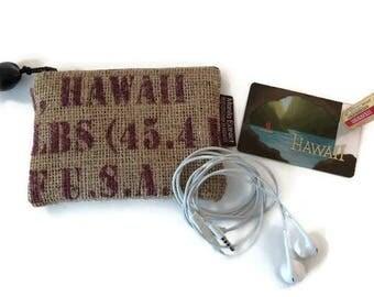 Graduation Money and Gift Card Holder. Burlap Coin Purse, Repurposed Coffee Bag. Coffee Lover. Handmade in Hawaii.