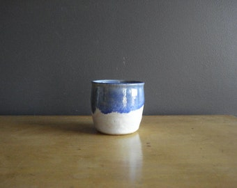 Just A Small Cup - Vintage Pottery - Small Handmade Vase - Blue and White Studio Ceramics