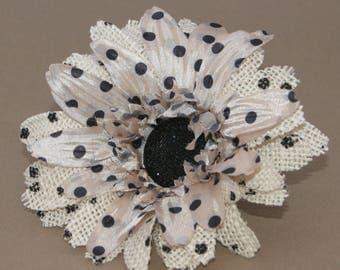 Polka Dot Cream Burlap Daisy Pick - Cream with Black Dots - Artificial Flowers, Silk Flowers