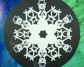 "50% OFF! Snowman Snowflake Print - Archival Print - 8x8"" and 5x5"" - Sale!"