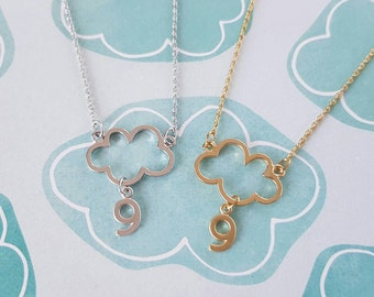 Cloud Nine Necklace, cloud 9, silver gold simple, fallen in love, brag about it, sweet love, cloud charm, number 9 charm, girlfriend bestie
