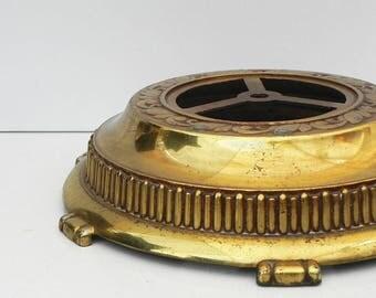 "Salvaged vintage cast metal Floor lamp base LAMP PARTS Restore DIY Antique Gold 11-1/2"""