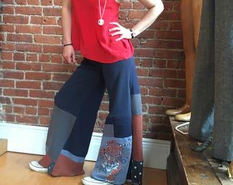 Eco clothing- long wide leg pants- yoga pants- recycled cotton- foldover waistband- tiger patchwork pants- size medium small- palazzo pant