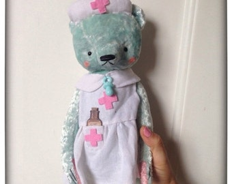 SALE 12 inch Artist Handmade Mint Plush Teddy Bear Nurse Sofia by Sasha Pokrass