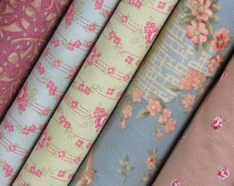 Shabby Chic/Robyn Pandolph Fabrics-Fat Quarter Set 12-Shabby Chic Colors for Quilts, CLothing, Tote Bags, Mixed Media,etc