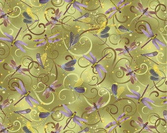 Kanvas By Benartex - Dance of the Dragonfly - Dancing Dragonflies w/ Metallic Gold - Celadon - Fabric by the Yard 8498MB-44