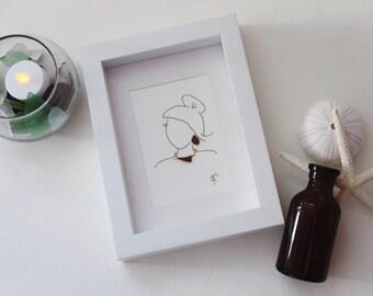 Handmade Sea Glass Art / Fashion Art / Jewelry Art / Girlfriend Gift / Sister Gift / Friend Gift / Bridesmaid Gift / Female Art