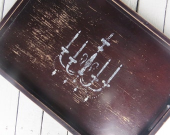 Chandelier Tray, French Decor Tray, Large Wooden Tray, Old Rustic Tray, Cottage Chic Decor, Paris Flea Market Tray, Dark Wood Serving Tray