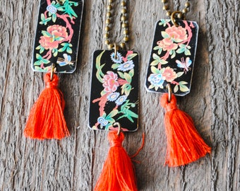 Chinese Tea Tin Necklace - Tassel Necklace - Asian Style - Repurposed Necklace - Tea Lover - Red and Black