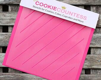 Diagonal Thin Stripe Cookie Stencil, Stripe Sugar Cookie Stencil, Stripe Fondant Stencil, Cookie Countess Cookie Stencil, Stripe Stencil
