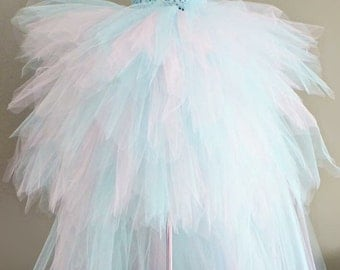 READY TO SHIP Tiered high low tutu dress.  Baby pink and aqua blue. Average Size 2-4 years. 18 to 22 inch chest or waist.