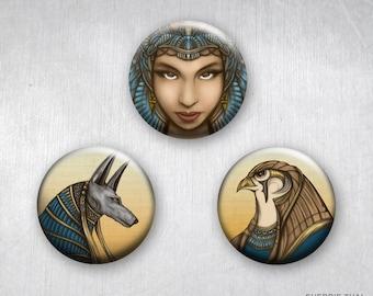 Queen Hatshepsut, Anubis and Horus, Ancient Egyptian Mythology Gods, Pinback Buttons, Original Art & Design, 1.25 inch, Set of 3
