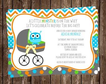Monster, Baby Shower, Invitations, Buggy, Boys, Aqua, Blue, Green, Orange, Polka Dots, Chevron Stripes, 10 Printed Invites, FREE Shipping