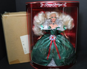 1995 Holiday Barbie With Original Mattel Shipping Box, Special Edition Happy Holidays Barbie