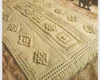 Crochet Afghan Pattern - Popcorn Design - Pattern No. CB170621