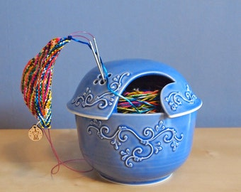ceramic yarn bowl with lid in Delphinium blue