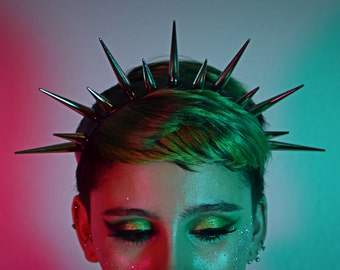 Elizabeth Spiked Crown - Spike Headband - Silver Spikes - Black leather - PVC - Vegan - Goth - Punk