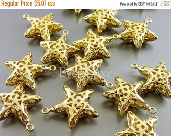 15% SALE 4 puffy star filigree charms / bright gold star brass charms for bracelets / jewelry supplies 1847-BG-LG (bright gold, Lg, 4 pieces