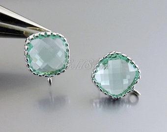 2 pcs / 1 pair pretty light aqua blue glass stone earrings, silver stone earrings, aquamarine bridal / wedding earrings 5155R-AQ
