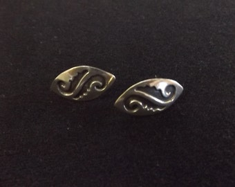 Antique 925 Silver Screw Back Earrings - Made In Mexico