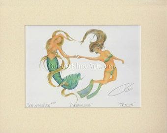 "Mermaid Tricia & Female Diver Art Signed Robert Kline Matted 11"" x 14"" Print Nautical Gift Beach House Boat Bathroom Fantasy Home Wall Decor"