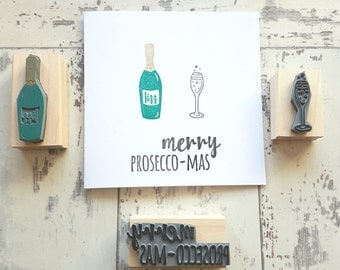 Christmas Prosecco Rubber Stamp Set - Christmas Stamper - Wrap -  Card Making - Pattern - Scrapbooking - Fizz - Champagne - Wine - Bottle