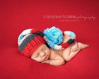 Striped Elf Hat in Aqua and Red