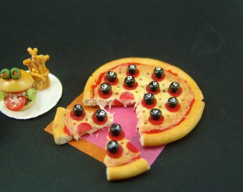 Polymer Clay Pizza - Jeepers Peepers Halloween Pizza Set - 1/12 Scale Food Dollhouse Miniature Food