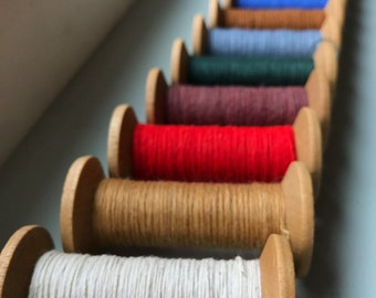 12 Blonde Wooden Colorful Thread Spools - Primitive 3 Inch Wooden Bobbins - Set of 12 Rustic Decor