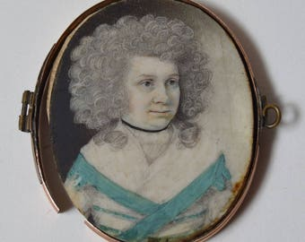 18th century miniature PORTRAIT  young woman powdered wig plaited hair gold