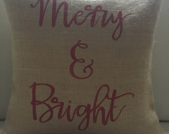 Christmas Merry and Bright burlap pillow cover